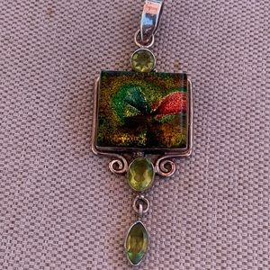 Sterling dichroic glass and peridot pendant